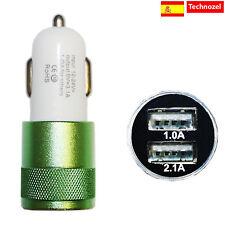 Cargador Mechero Coche Para Iphone 4 4s Calidad 3.1a 2 Puertos Verde
