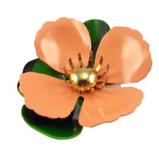 Sarah Coventry Tahitian Flower Brooch Pin Peach Enameled Metal 1960s Vintage