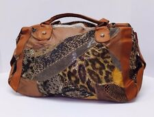 New Women's Brown Patch Leather Animal Print Fashion Shoulder Handbag x-Mas Gift