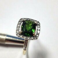Size 7 + Chrome Diopside Natural Diamond and Sapphire Solid 10k Yellow Gold Ring