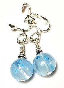 Long Light Blue Silver Millefiori Clip-On Earrings Glass Beads Drop Dangle Boho