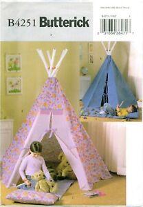 Butterick 4251 TEPEE TIPI & MAT KIDS Play Tent Indoor Pattern 2004 UNCUT FF