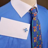 Mens Blue Twill Formal Business Dress Shirt White Collar Contrast French 2x Cuff