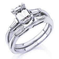 1.75C Emerald Cut Diamond Ring  Matching Band with Baguette Sides 3 stone Design