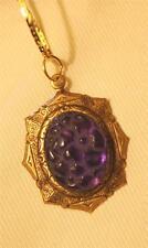 Lovely Point Rim Swirled Brasstone Vintage-Look Violet Flowers Pendant Necklace