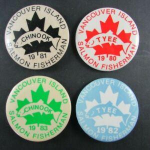 4 Vancouver Island Chinook Tyee - salmon fishing buttons 1980 1981 1982 1983