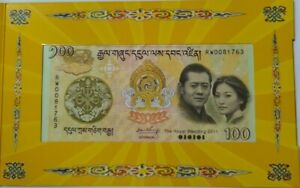 "2011 BHUTAN 100 Ngultrum ''Commemorating The Royal Wedding"" With Folder"