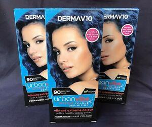 ABOXOV Vegan Friendly 3 x Derma V10 URBAN VIBE 90 Electric Blue Hair Dye Colour
