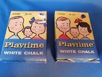 2 Vintage BINNEY & SMITH Playtime White Chalk 510 Retro packaging Crayola 1950s