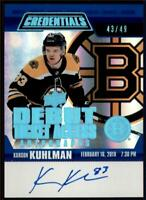2019-20 Credentials Debut Ticket Access Auto Variant Karson Kuhlman RC /49