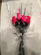 One Dozen Red Wooden Roses Buds