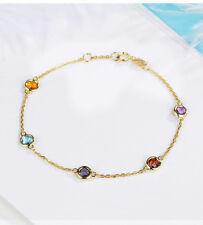 5 Stone Natural Topaz Amethyst 1.1ctw Gemstone 14k Yellow Gold Bracelet Chain