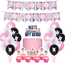 Bts Birthday Party Supplies includes Banner - Cake Topper - 21 Cupcake Toppers