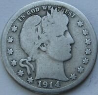 1914-S Barber Quarter in a SAFLIP® - VG- (Good+)