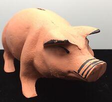 Vintage Standing Pink Cast Iron Pig Still Bank Unmarked