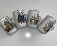 Vintage 1982 Norman Rockwell Museum Collection Set of 4 Coffee Cups Mugs