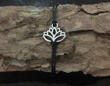 LOTUS FLOWER BRACELET YOGA MEDITATION BOHO HIPPY ADJUSTABLE BLACK SILVER UK