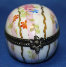 Peint Main Hand Painted Pink Floral Egg Limoges Trinket Box Rochard France