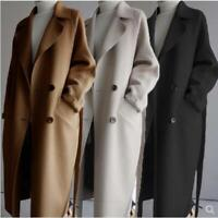 Womens Lapel Cashmere Wool Blend Belt Trench Coat Outwear Oversize Parka Jacket