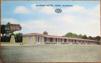 Arab, AL 1940 Postcard: Arabian Motel - Alabama Ala - US 231 / AL 38