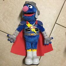 """2011 Hasbro Sesame Street - Flying /Talking SUPER GROVER """"2.0"""" Super Hero Muppet"""