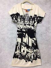 Tory Burch Black Off White Madly Mod 100% Silk Dress Sz XS