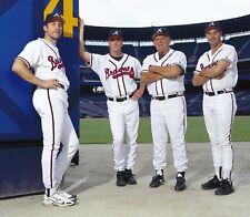 """John Smoltz, Tom Glavine, Bobby Cox & Greg Maddux -  8"""" x 10"""" Photo- 1995 Braves"""