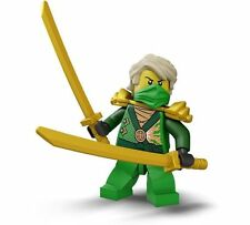 LEGO green ninja Ninjago Lloyd Minifigure with 2 gold swords 70722 new