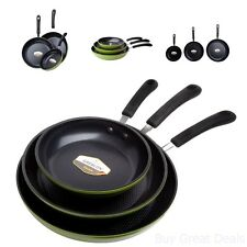 Dining Ozeri 3 Piece Green Earth Frying Pan Set w/ Textured Nonstick Ceramic