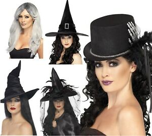 Halloween Witch Hat Fancy Dress Glamourous Blond Wig Party Dress Spider Gothic
