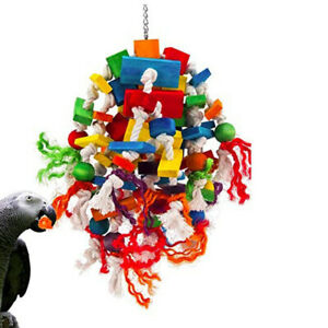"""22"""" Parakeets Bird Parrot Conure Cockatiels Wood Toys Cotton Rope Bird Toy T031"""