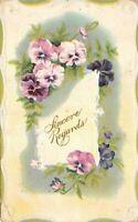 "Vintage ""Sincere Regards Purple Flowers "" 1911 Postcard"