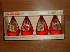 Vintage Jewel Brite by Decor Christmas Ornaments Santa w/deer camel plastic (#1)