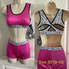 """NEW Pink Infinity Crop Top Shorts Set size 30"""" age 9-10 by Zodiac Leos"""