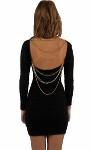 Ladies Dress Backless Bodycon Clubbing Mini Short stretchy Chain Open Back party