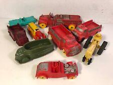 9 Auburn Sun Rubber Car Army Transport Fire Truck Caddy Hot Rod Tractor Lot