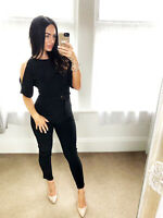Black Jumpsuit Cold Shoulder Stretch Open Back Gold Trim Playsuit UK STOCK