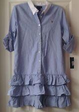 NWT, Girls Ralph Lauren dress, ruffled, Size 16, 100% cotton, button top