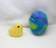 New Handmade Easter Egg(green/blue/purple) & Chick ~ 100% Wool ~ Made in Vermont