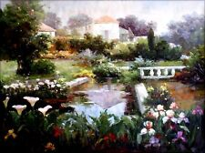 Stretched, Garden with Floral Blossom, Quality Oil Painting, 30x40in
