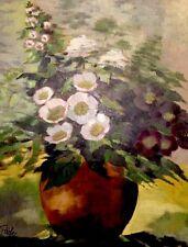 Ölgemälde Stillleben Impressionistische Blumen in Vase signiert Färber