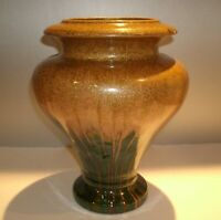 "Vtg Mid Century Modern Art Pottery Vase Brown Green Flame Design Marked 11"" Tall"