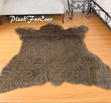 "60"" x 72"" Brown Coyote Grizzly Bear Accents Faux Fur Area Rug Bearskin SC Love"