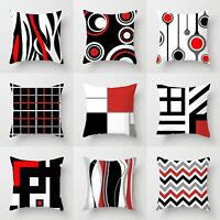 Geometric Black & White& Red Throw Pillow Case Waist Cushion Cover Home Decor