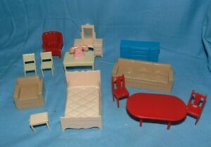 Marx Doll House Furniture Lot 14 Pieces