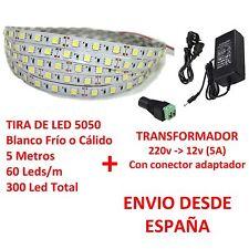 Kit Striscia de Led 5050 INTERNI Bianco Ghiaccio o Caldo+Trasformatore 5A 60 LED