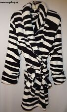 NEW MISSES ZEBRA ANIMAL PRINT PLUSH ROBE SIZE LARGE W/ FREE SHIP BATH  BATHROBE