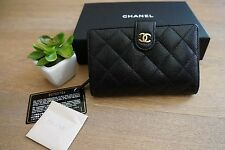 AUTHENTIC CHANEL Black Caviar L Zip Wallet With Gold Hardware