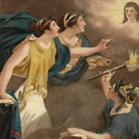 Allegorical goddesses enlightenment heavens 1836 beautiful antique frontis print