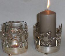 Versilbertes Windlicht mit Schneeflocken Teelicht Weihnachten Neu